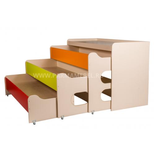 Кровать детская раздвижная 3 яруса с тумбой МАТРЕШКА-2
